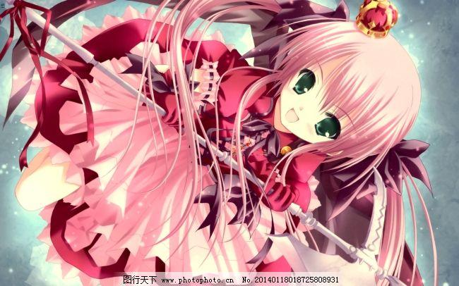 粉色头发免费下载 皇冠 萝莉 粉色裙子 图片素材 卡通动漫可爱图片