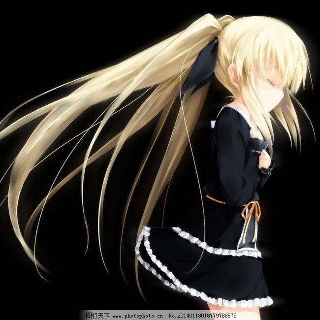 黑色背景 金发 可爱 黑色背景 黑蕾丝裙 金发 闭眼 可爱 图片素材
