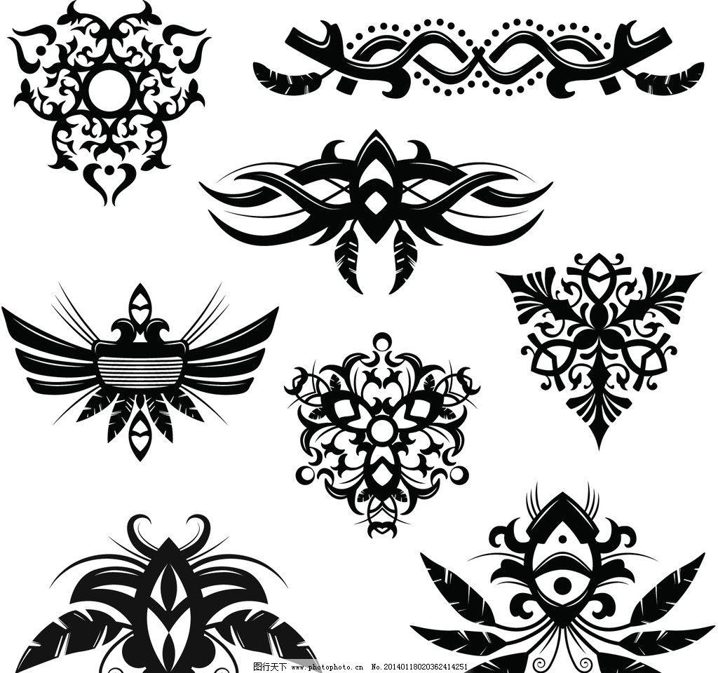 设计图库 底纹边框 花边花纹  纹身图案 纹身图案矢量素材 纹身 吉祥