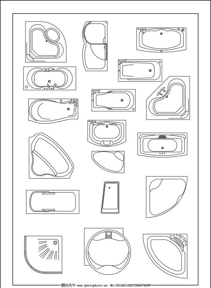 浴缸 艺术装饰 设计 室内设计 cad制图 失量图 平面图 建筑家居 矢量