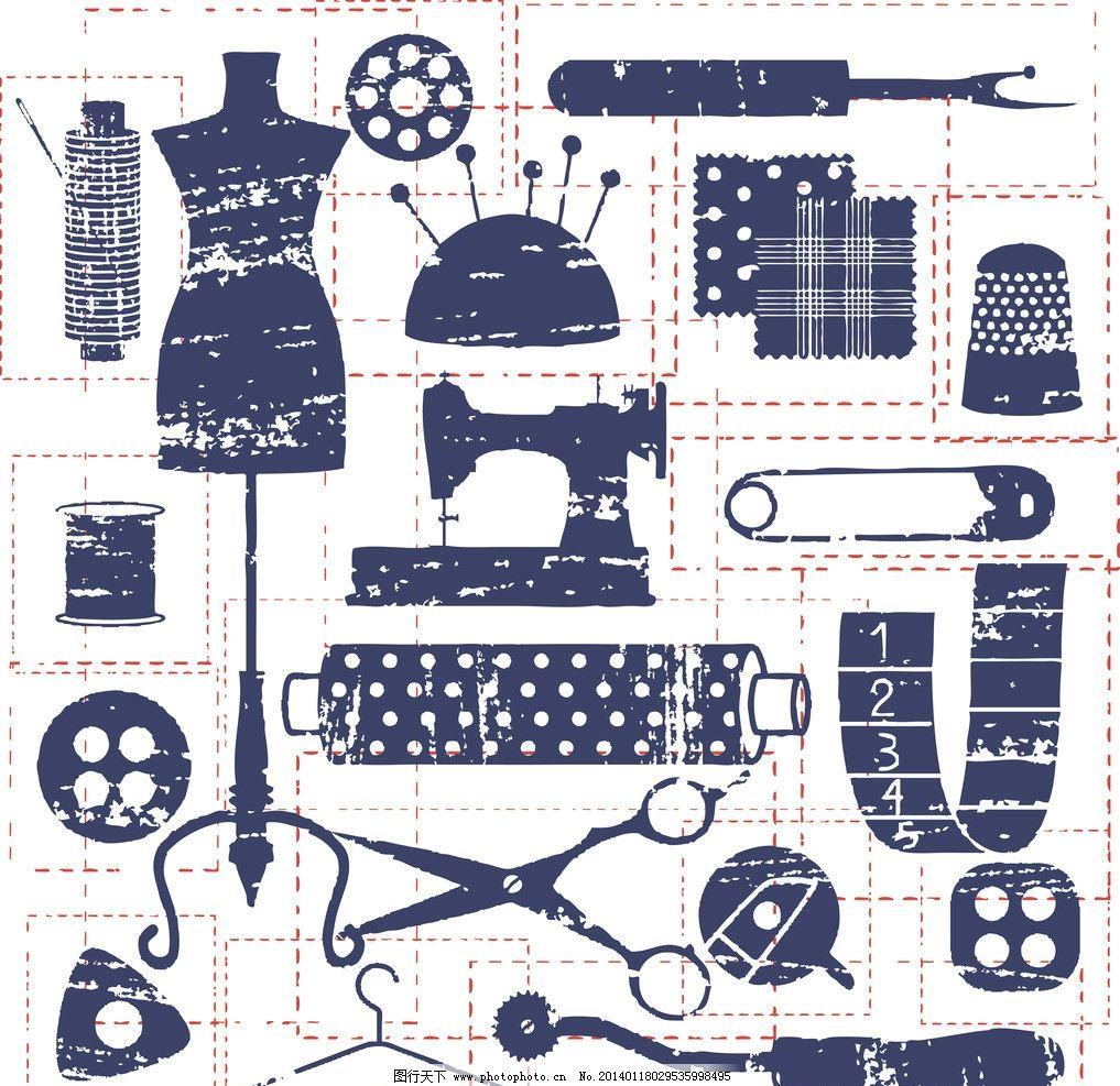 裁缝工作用品 手绘裁缝工作用品 服装 衣服 设计师 线描 手绘 剪刀
