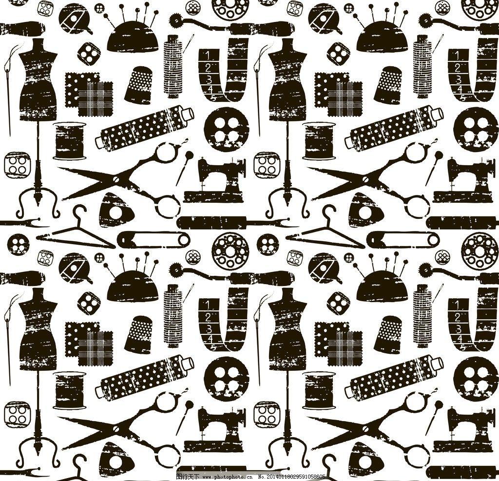 裁缝工作用品 手绘裁缝工作用品 服装 衣服 设计师 衣架 线描 手绘