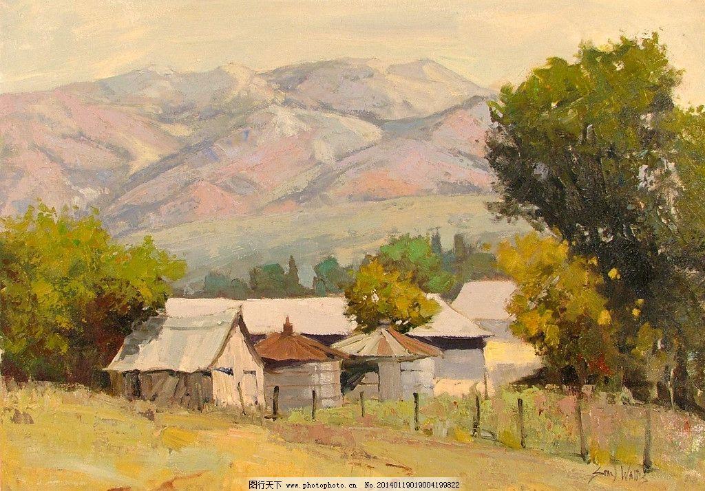 风景油画绘画 风景画 大自然风景 西方油画 重彩 欧式油画 油画艺术