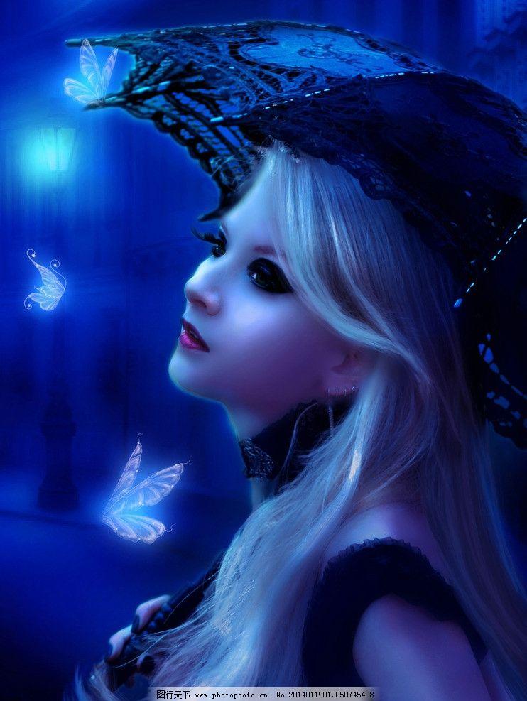 手绘美女 美女 蝴蝶 唯美 雨伞 艺术 绘画 数字绘画 数字绘画艺术壁