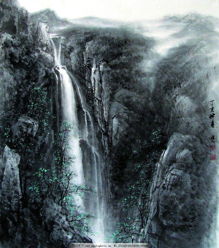 云崖飞瀑 美术 中国画 山水画 山岭 山崖 瀑布 山溪 树木 云雾 国画