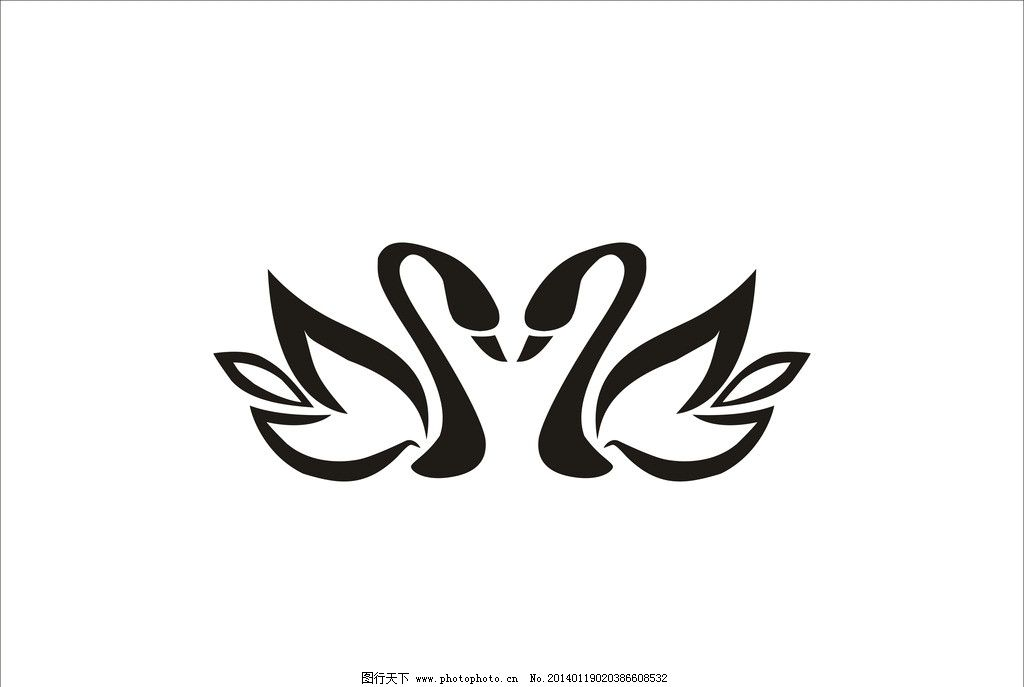 矢量天鹅 天鹅剪影 标志 线条天鹅 图案 天鹅图案 花纹花边 底纹边框