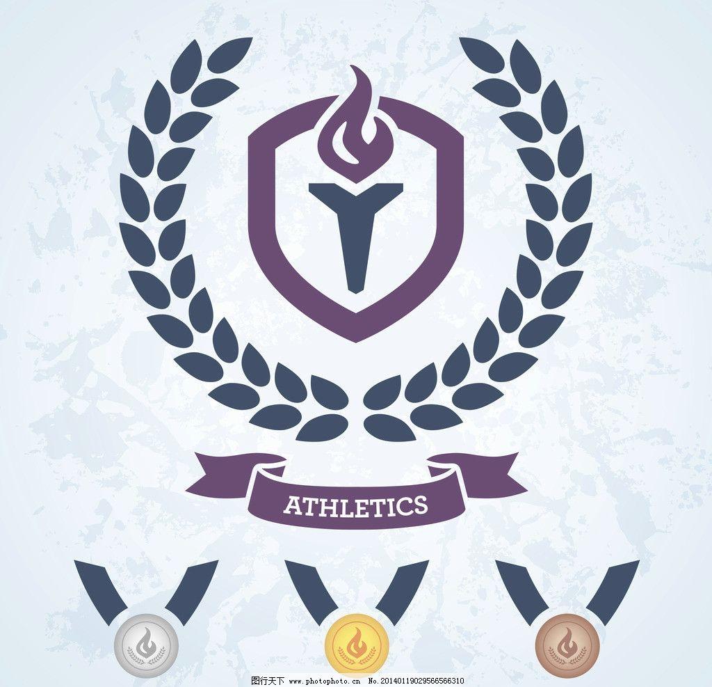 金牌 奖牌奖章 丝带 麦穗 橄榄枝 勋章 荣誉 欧式 标签 矢量图标