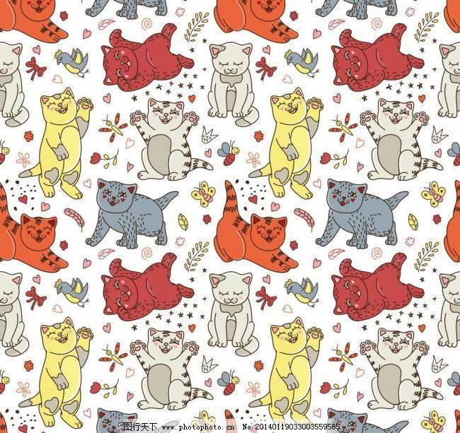 卡通背景 可爱卡通背景 花卉 碎花 手绘 鲜花 宠物猫 猫咪 背景画