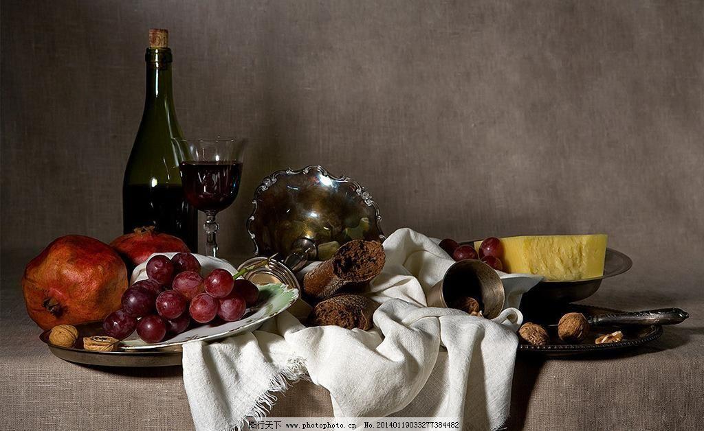 jpg 古典油画 红酒 绘画书法 面包 盘子 葡萄 设计 石榴 数码静物油画