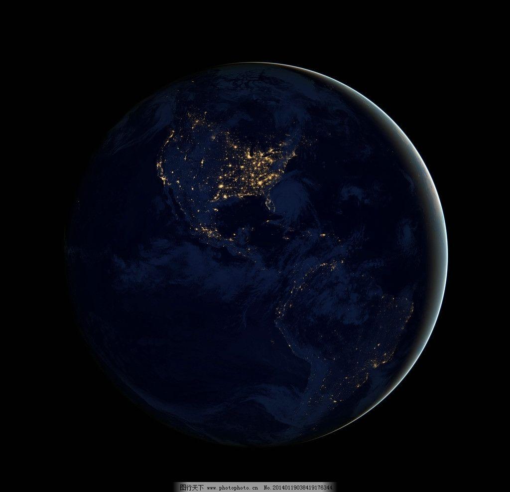 西半球夜景 夜光 城市亮光 南美 北美 地球 摄影