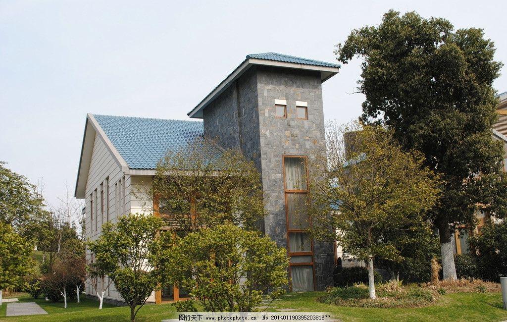 风景园林景观素材 别墅 乔木 灌木 草坪 草皮 园林建筑 建筑园林