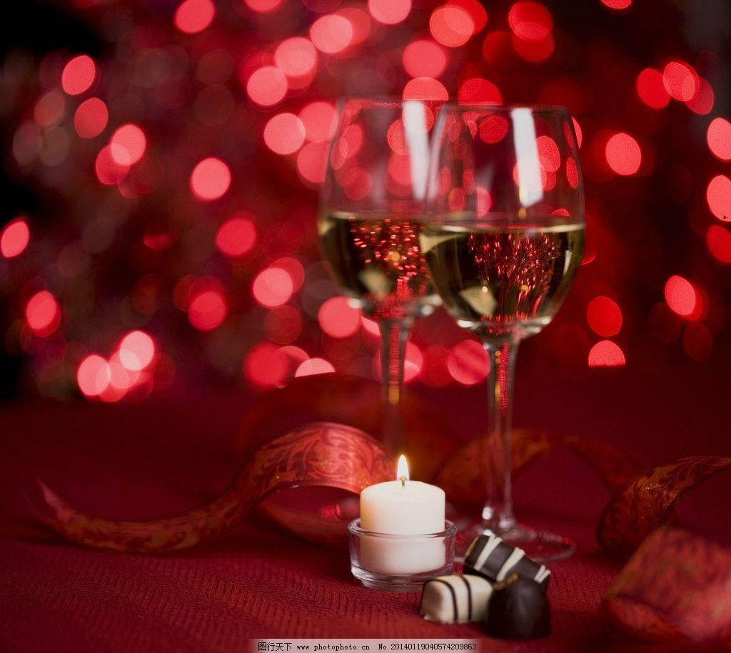 红葡萄酒 红酒 玫瑰花 丝带 蜡烛 烛光 高脚杯 情人节 摄影