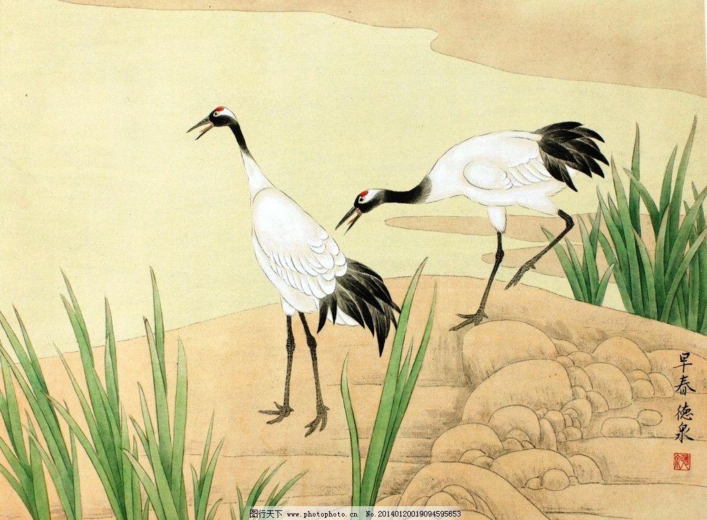 仙鹤 国画 花鸟画 工笔画 张德泉
