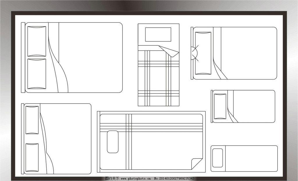 床平面图 床 平面 设计 室内设计 cad制图 失量图 建筑家居 矢量 cdr