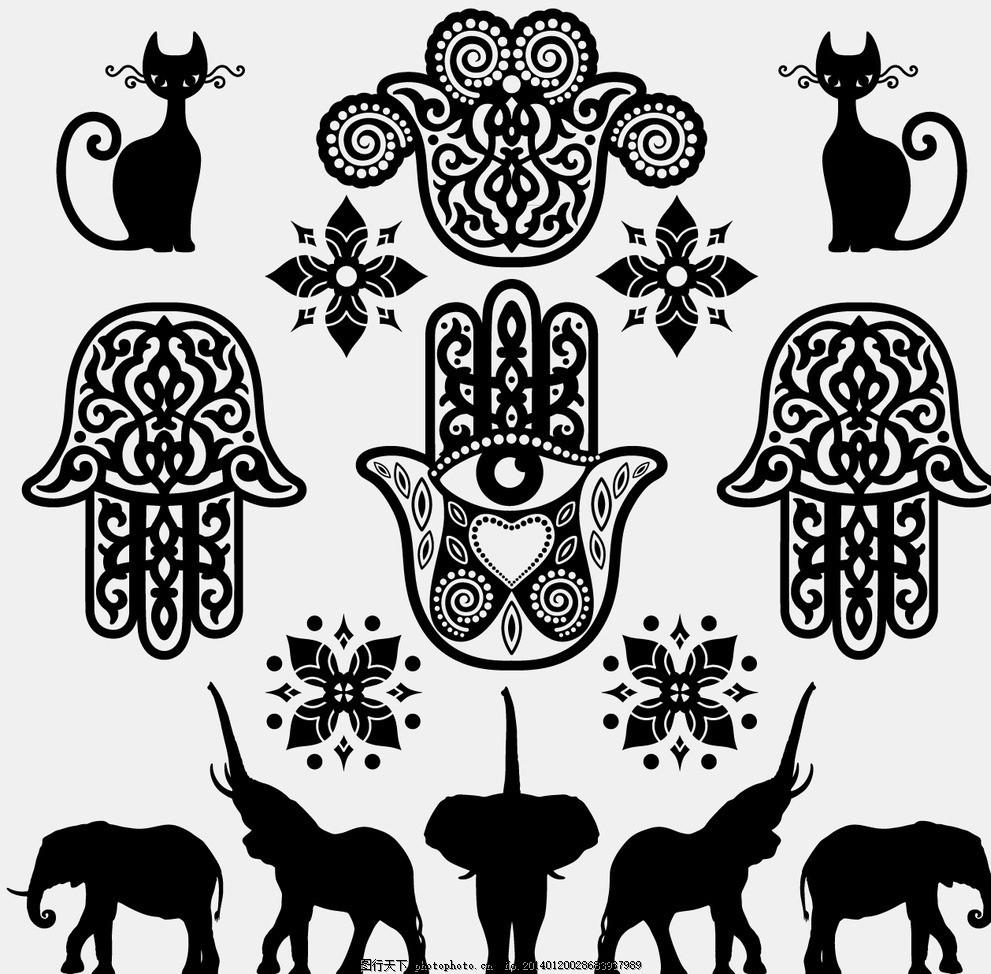 图腾 大象 手 猫 欧式 花纹模板下载 背景 手绘 线条 时尚邀请卡 植物
