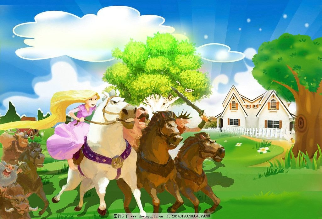 公主 场景 迪士尼 风景 背景 迪士尼公主 马 大树 房子 云 海报 星星