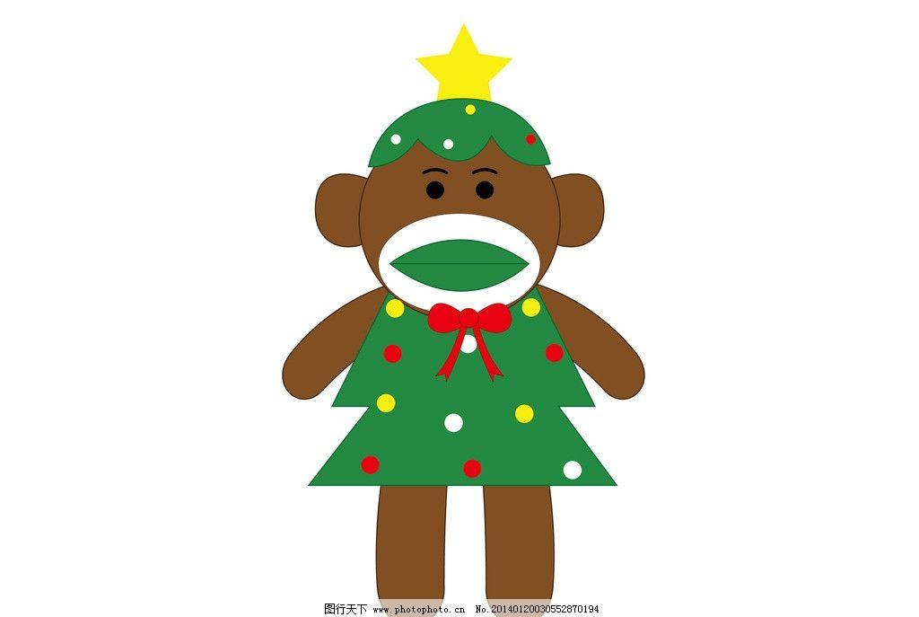 大嘴猴 圣诞树 猴子 圣诞树猴子 猴子穿圣诞树衣服 卡通设计 广告设计