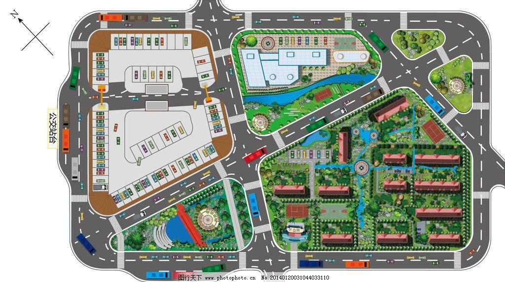 彩色小区街道平面图图片