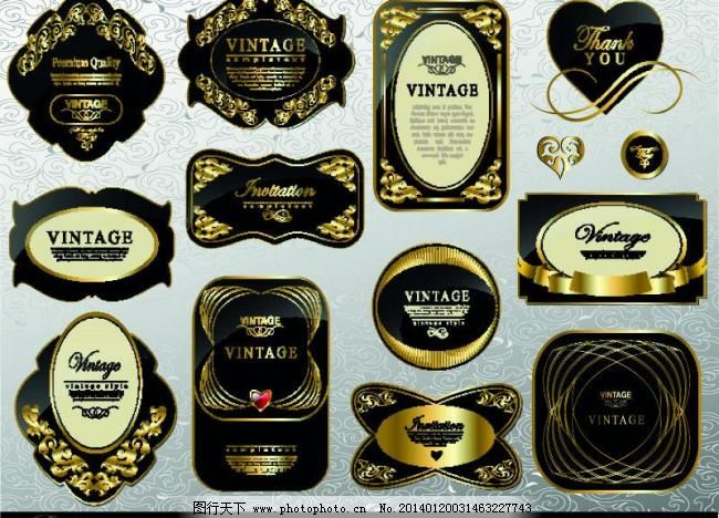金色欧式标签徽章图片