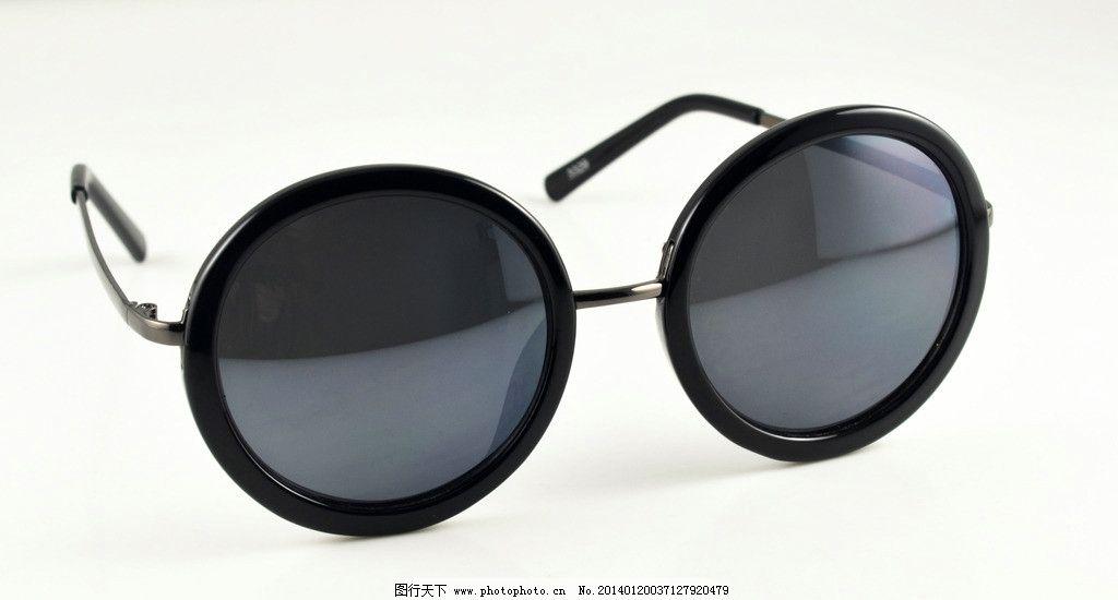 潮流圆框复古墨镜 文艺复古风 黑色眼镜框 复古 墨镜 静物 静物拍摄-圆