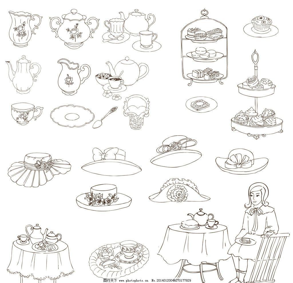 茶壶茶杯简笔画-茶具手绘图