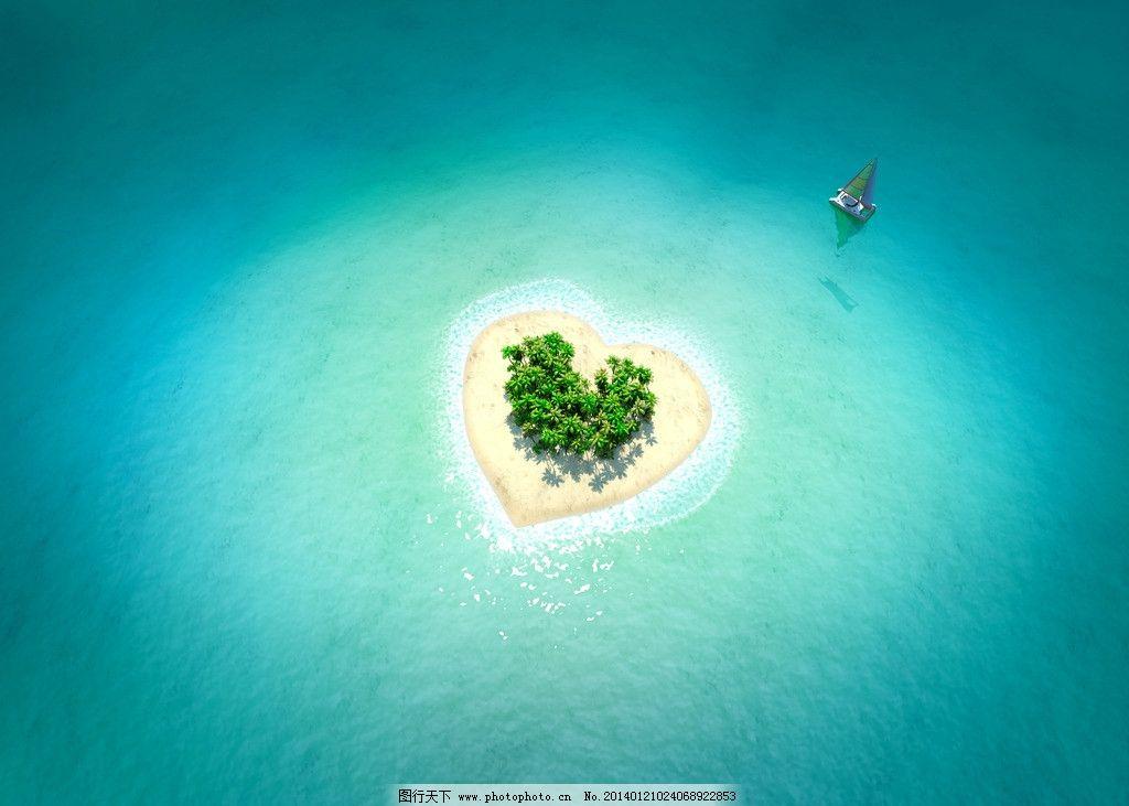 大海 小岛 海洋 海浪 碧海蓝天 游艇 旅游 度假 沙滩 清澈 椰子树
