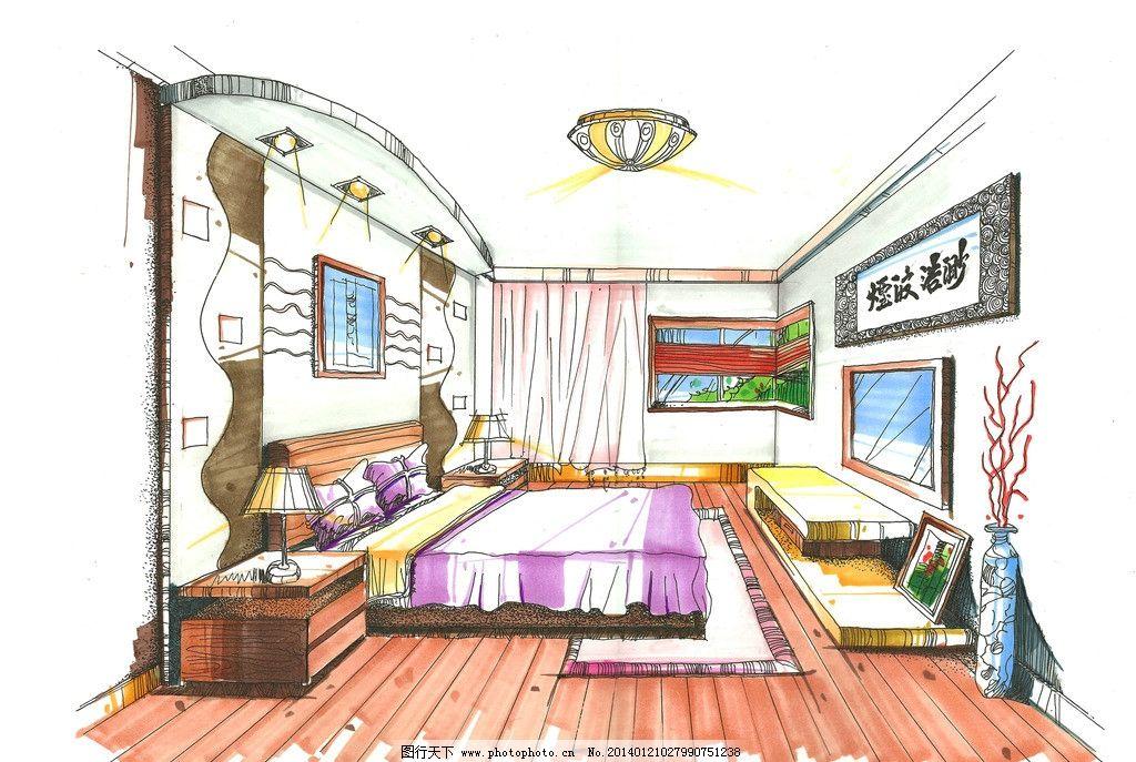 卧室手绘效果图 平面布置