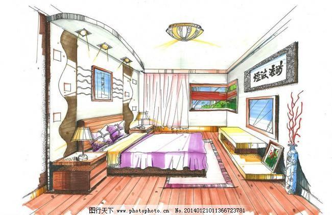卧室手绘效果图 彩铅 马克笔 色彩 室内设计 卧室手绘效果图设计素材