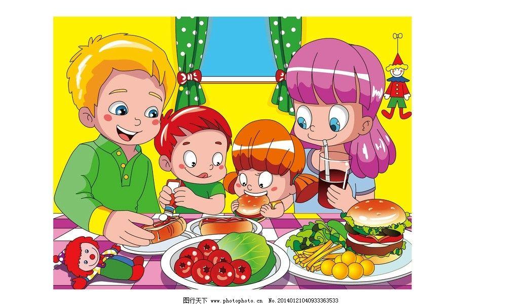 矢量 男孩 女孩 小丑 吃饭 汉堡 菜 饮料 水果 窗户 鸡蛋 儿童幼儿 矢图片