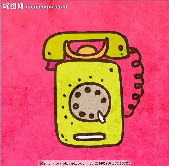 电话机 老式电话 卡通背景 矢量设计 卡通设计 背景设计 背景图案