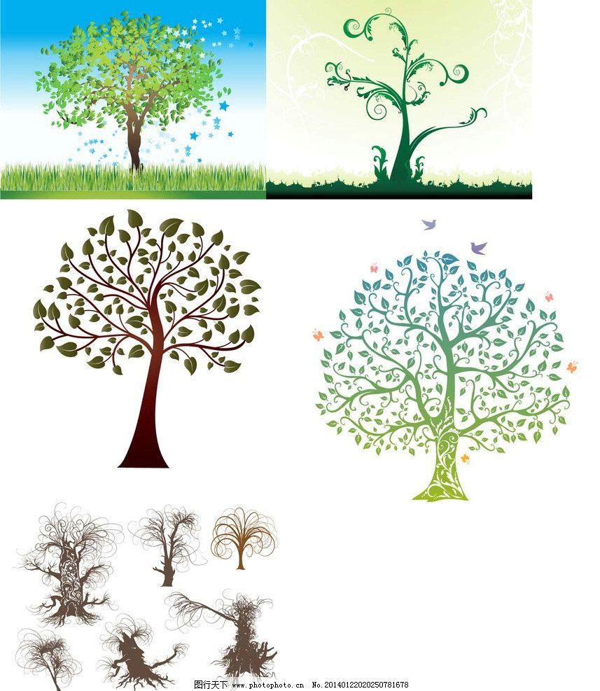 手绘矢量大树图片