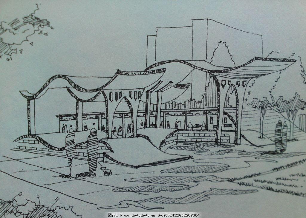 现代亭廊 线条 手绘 原创 阴影 景观设计 环境设计