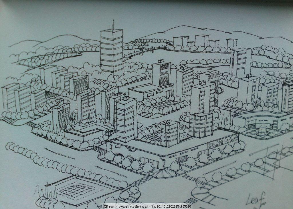 城市鸟瞰 线条 手绘 原创 阴影 景观设计 环境设计 设计 72dpi jpg