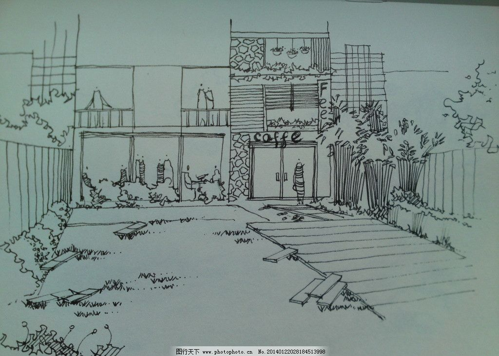 咖啡馆 线条 手绘 原创 阴影 景观设计 环境设计 设计 72dpi jpg