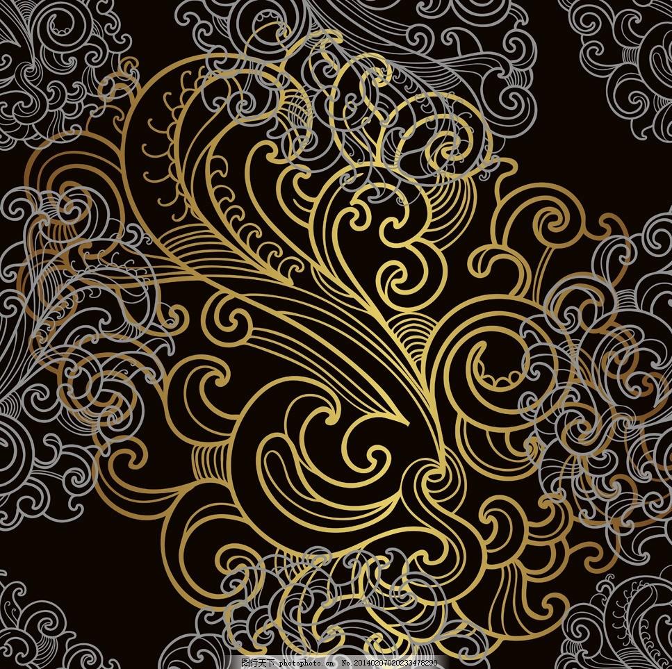 欧式花纹背景 欧式花纹 手绘 线条 时尚邀请卡 金色花纹 植物花纹