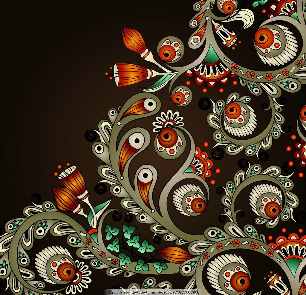 设计图库 现代科技 服装设计  手绘花纹 花纹 精美花纹 钟表 豪华背景