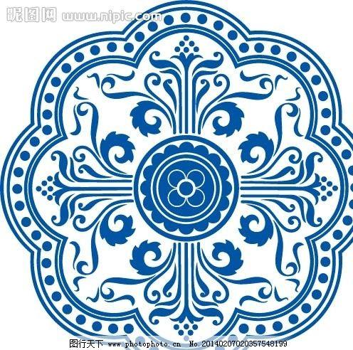 青花瓷花纹 青花兰彩 瓷瓶图案