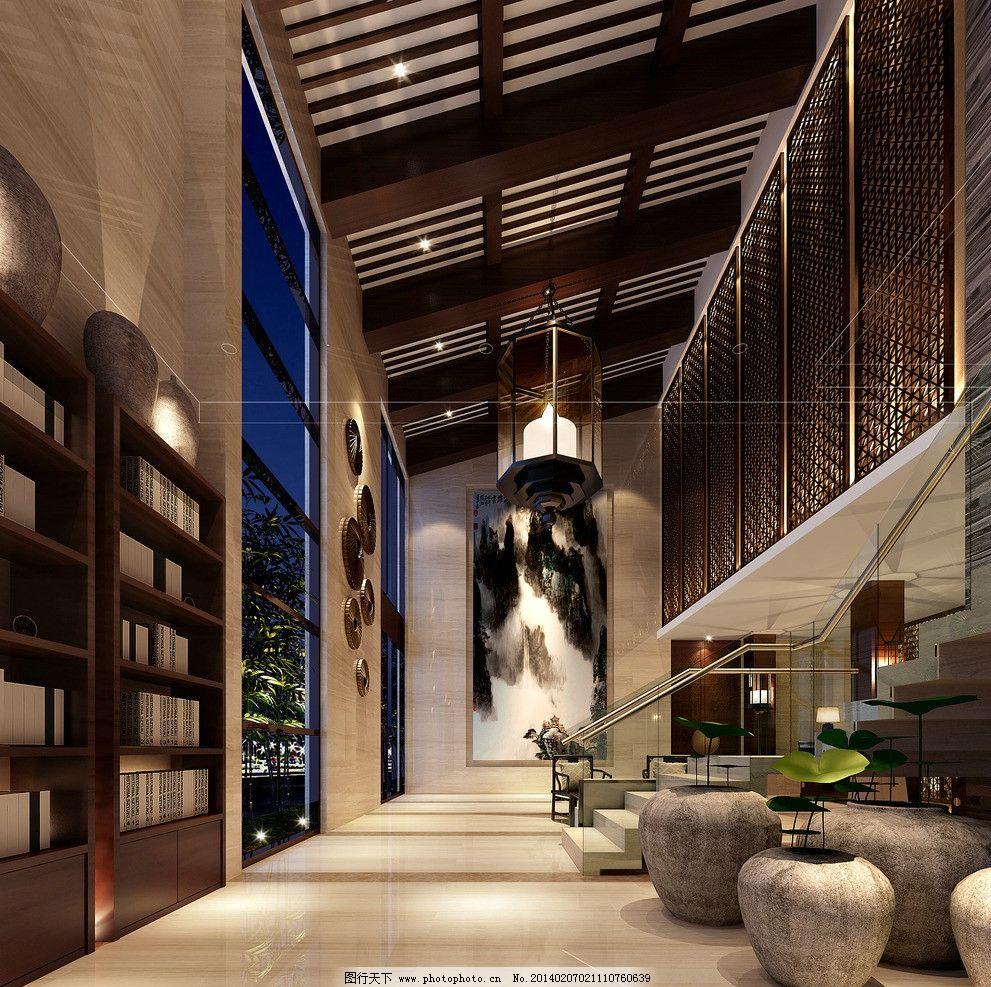 酒店中式风格装修大厅图片