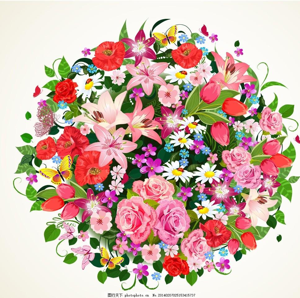 鲜花 手绘 花卉 植物 花朵 玫瑰花 情人节 百合花 菊花 花瓣