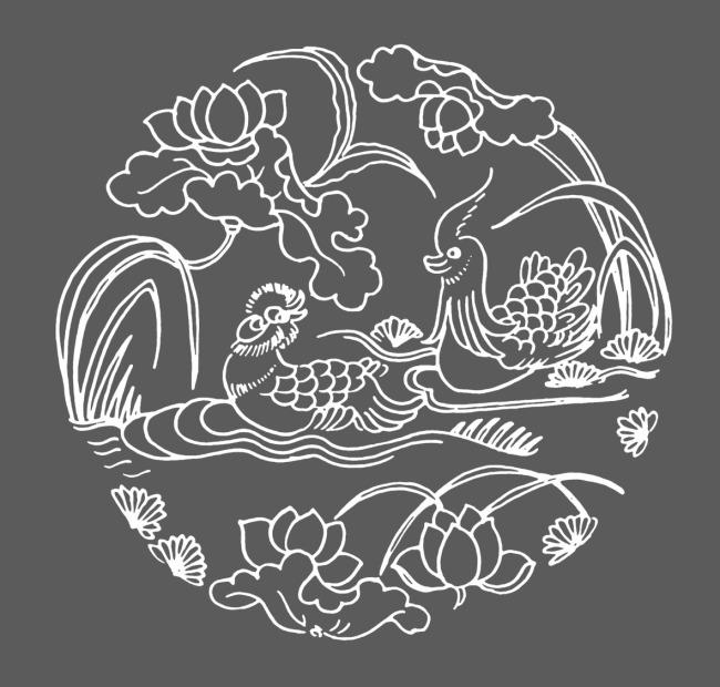 鸳鸯戏水手绘图案