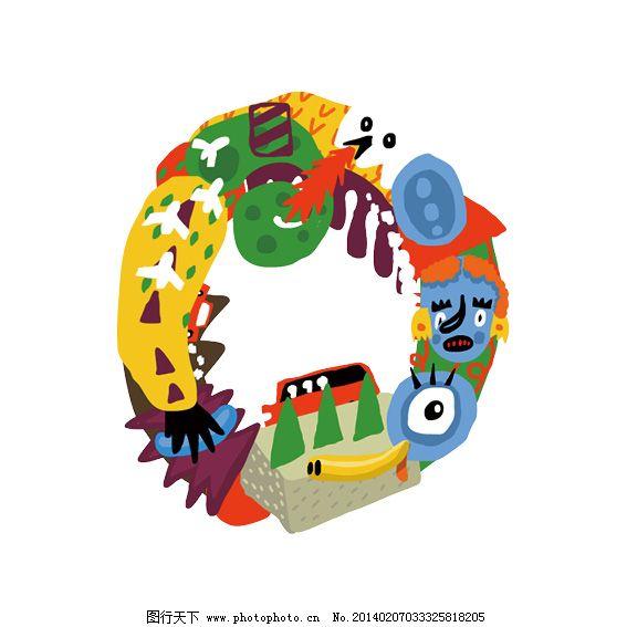 字母o 手 眼睛 飞机 o 万圣节 五颜六色 脸 卡通字母 psd源文件 艺术
