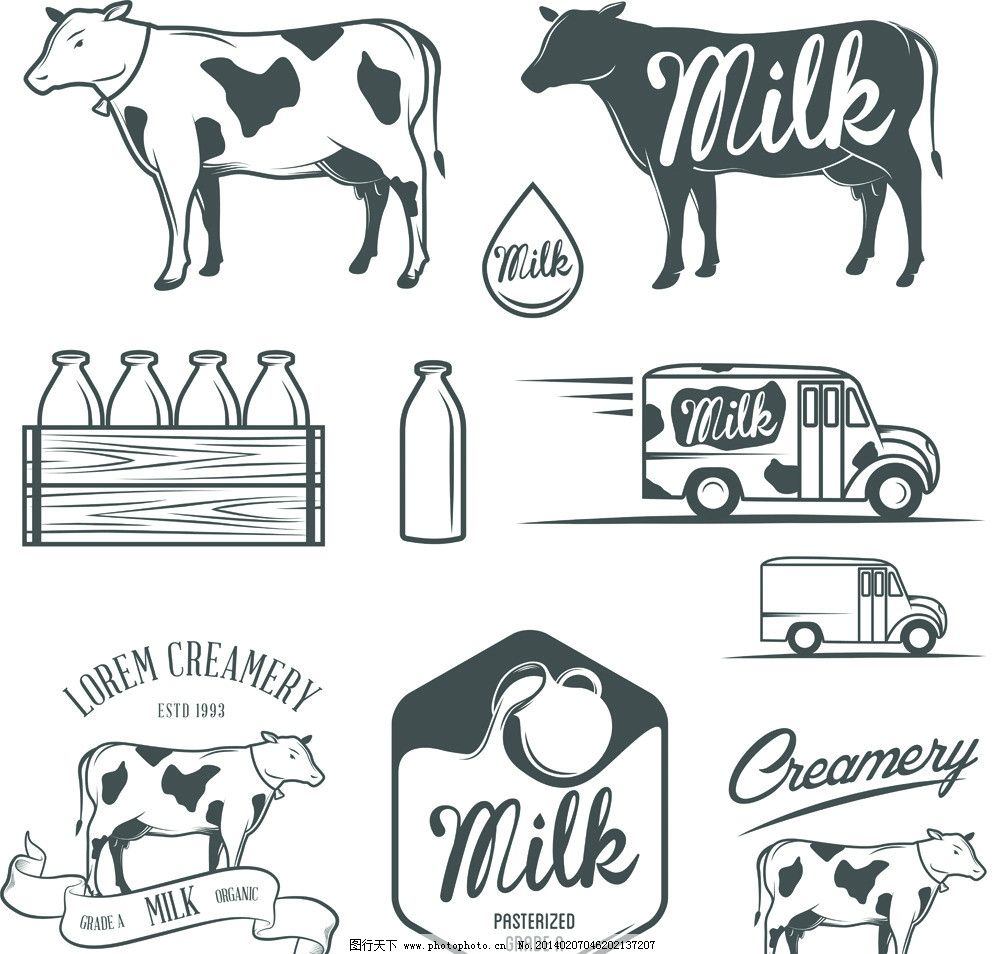牛奶 牛奶瓶 牛奶盒 奶牛 杯子 矢量图 牛奶包装 包装设计 广告设计