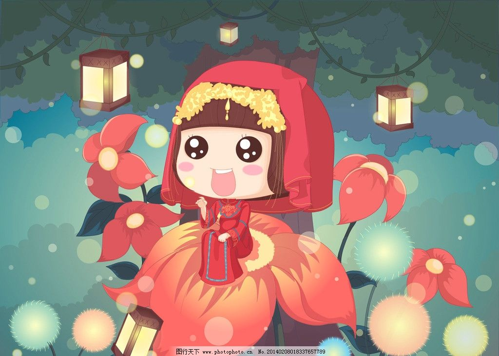 中国风 动漫 麦拉风 我的101套婚纱 壁纸 可爱 红妆 蘑菇头 动漫人物