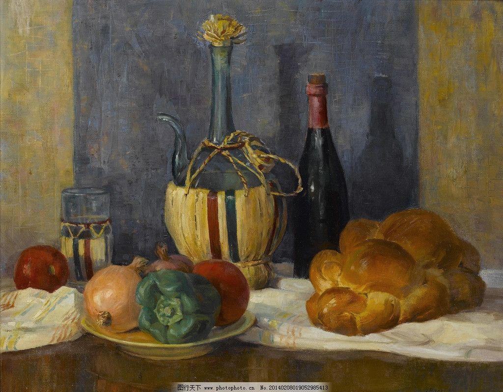 静物油画 石榴 辣椒 面包 苹果 玻璃瓶 19世纪油画 油画 绘画书法