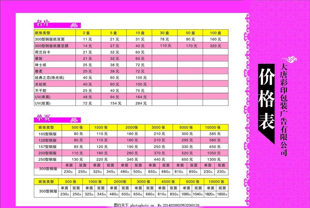 价格表,表格 印刷 数据 参考 矢量-图行天下图库