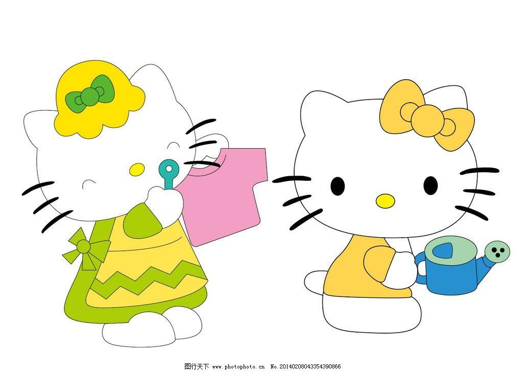 kitty 小猫 卡通猫 服装设计 图案 英文字母 烫钻 彩钻 贴布绣 可爱