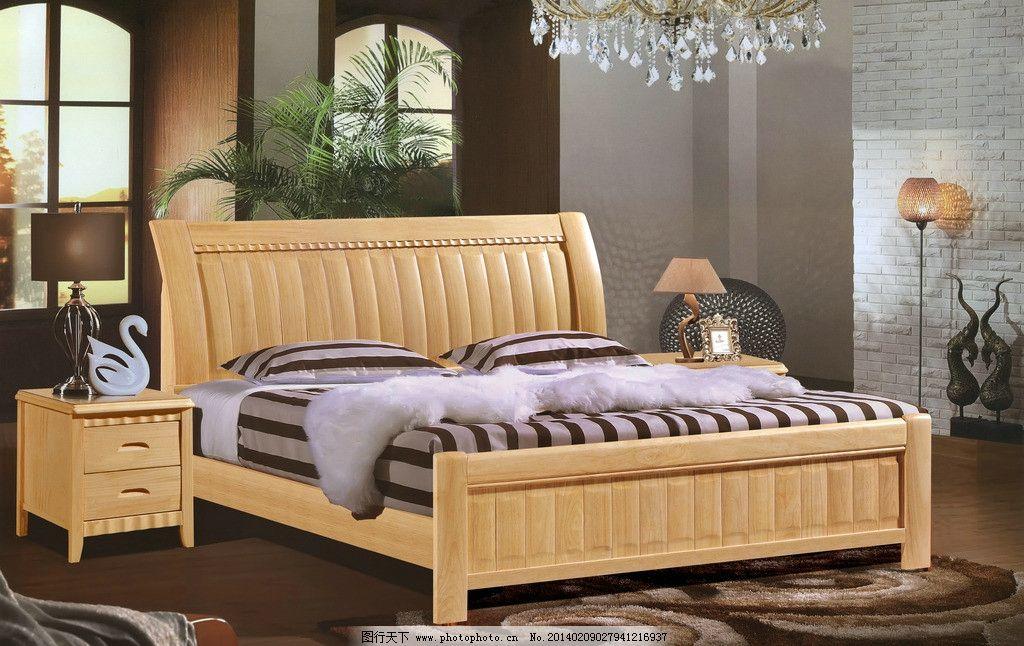 实木床 家具背景图片