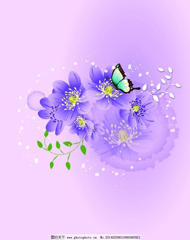 淡紫色背景 蝴蝶 花朵 蓝色蝴蝶 绿叶 梦幻 泡泡 阳光 叶子 紫色花 y