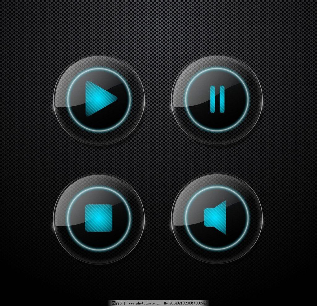 玻璃质感标签 按钮 按键 黑色透明水晶金属背景 水晶徽标 图标
