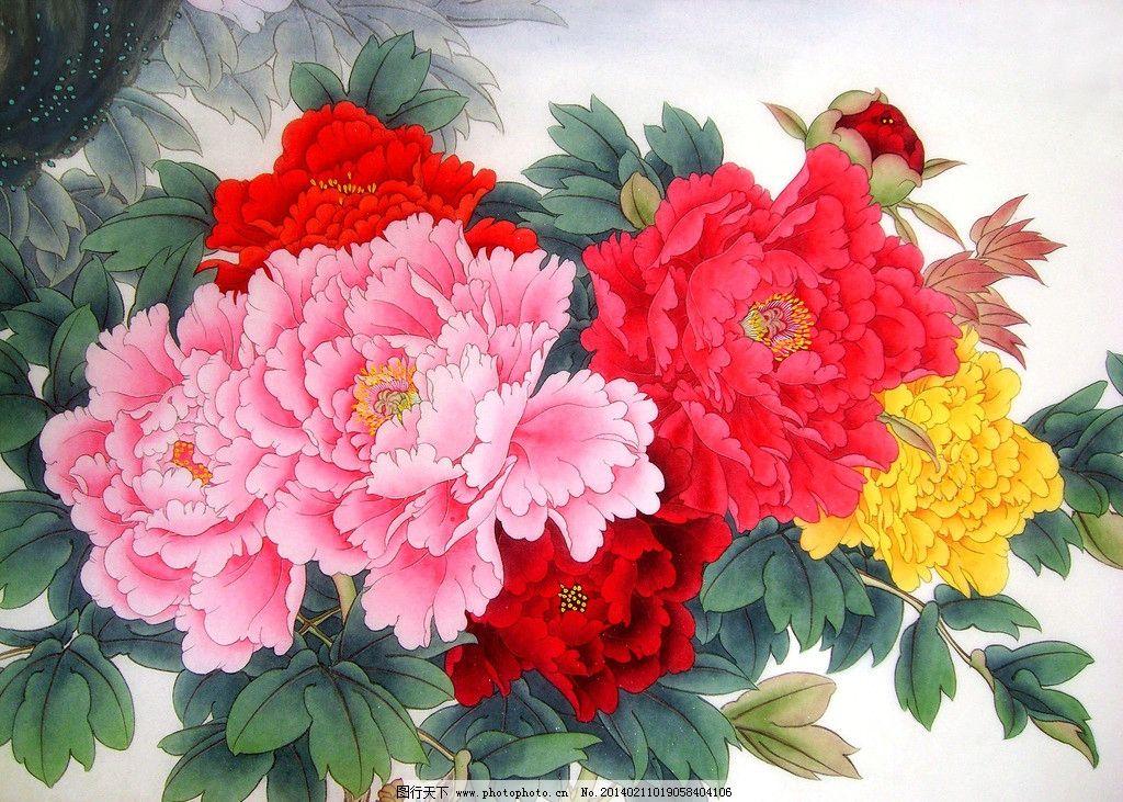 争艳图图片,美术 中国画 花卉画 牡丹花 国画牡丹-图图片